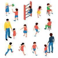 Children Isometric Set Vector Illustration