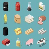 Isometric Commodity Icons Collection Vector Illustration