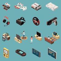 Gaming Isometric Icon Set Vector Illustration