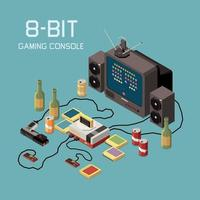 Vintage Gaming Console Composition Vector Illustration