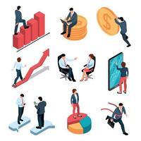 empresarios, isométrico, conjunto, vector, ilustración vector