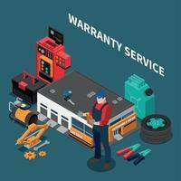 Warranty Repair Serviceman Composition Vector Illustration