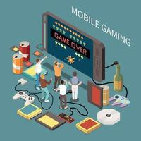 Mobile Gaming Conceptual Composition Vector Illustration