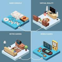 Isometric Gaming Design Concept Vector Illustration