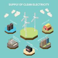 Electricity Sources Isometric Composition Vector Illustration