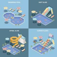 Aquapark Isometric Design Concept Vector Illustration