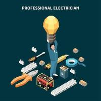 Professional Electrician Isometric Composition Vector Illustration
