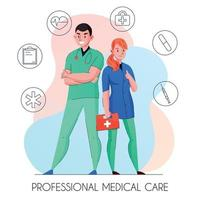 Medical Care Personnel Composition Vector Illustration