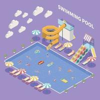 Open Pool Aquapark Composition Vector Illustration
