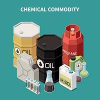Isometric Chemical Commodity Composition Vector Illustration