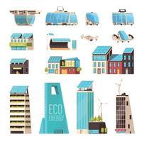Smart City Technology Set Vector Illustration