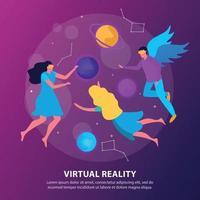 Virtual Reality Flat Background Vector Illustration