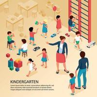 Kindergarten Children Isometric Composition Vector Illustration
