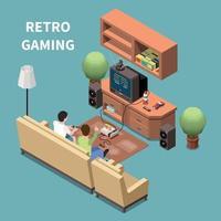 Retro Gaming Isometric Composition Vector Illustration