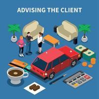 Car Sales Assistance Composition Vector Illustration