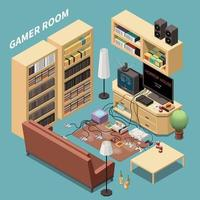 Gamers Room Isometric Composition Vector Illustration