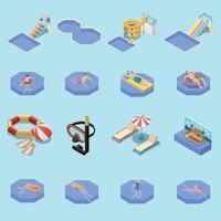 Water Park Icon Set Vector Illustration