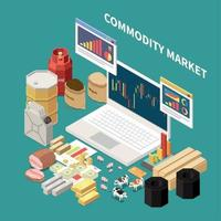Isometric Commodity Market Composition Vector Illustration