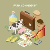 Farm Commodity Isometric Composition Vector Illustration