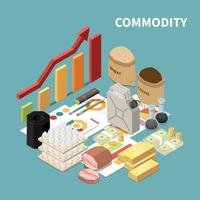 Commodity Market Growth Composition Vector Illustration