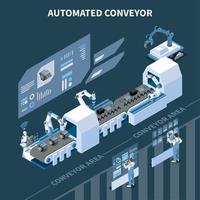 Ilustración de vector de composición isométrica de transportador automatizado