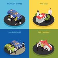 Car Dealership Concept Icons Set Vector Illustration