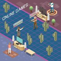 Interactive Online Gaming Composition Vector Illustration