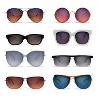 Realistic Sunglasses Models Set Vector Illustration