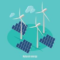 Smart Energy Isometric Background Vector Illustration