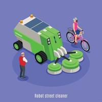 Automatic Cleaner Vehicle Background Vector Illustration