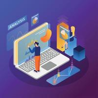 Computer Interfaces Isometric Background Vector Illustration