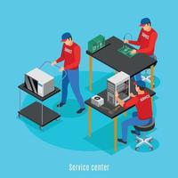Isometric Repair Shop Background Vector Illustration