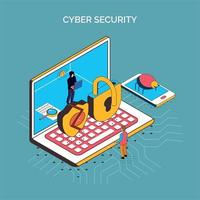 Isometric Cyber Security Composition Vector Illustration