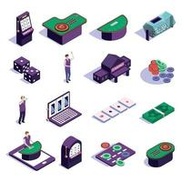 Casino Isometric Icons Set Vector Illustration
