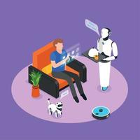 Home Robots Isometric Background Vector Illustration
