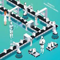 Robots Manufacturing Isometric Composition Vector Illustration