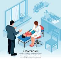 Isometric Pediatrician Office Background Vector Illustration