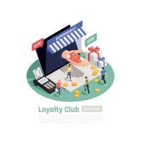 Loyalty System Isometric Background Vector Illustration