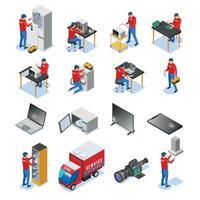 Service Center Isometric Set Vector Illustration