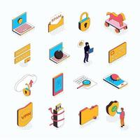 Cyber Security Isometric Icons Vector Illustration