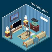 House Maid Isometric Composition Vector Illustration