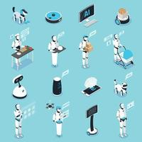 Robots Isometric Icons Collection Vector Illustration