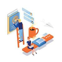 People Interfaces Isometric Background Vector Illustration