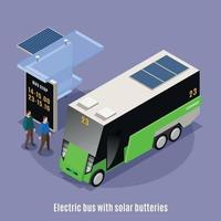 Electric Bus Stop Background Vector Illustration