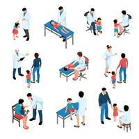 Children At Pediatricians Set Vector Illustration