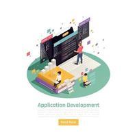 Ilustración de vector de fondo de desarrollo de construcción de aplicación