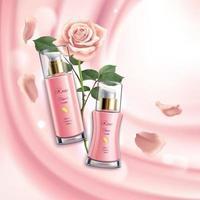 Rose Cosmetics Realistic Background Vector Illustration