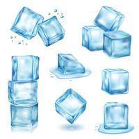 Ilustración de vector de conjunto de cubitos de hielo
