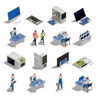 Warranty Service Isometric Icons Vector Illustration