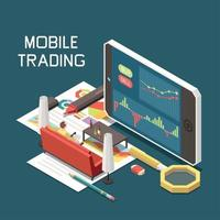 Online Trading Isometric Concept Vector Illustration